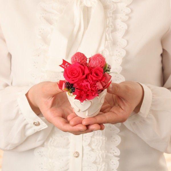 プリザーブドフラワー ギフト 誕生日 プレゼント バレンタイン ホワイトデー お祝い 記念日 結婚 出産 還暦 粗品 法人 ハート ピュアハート ホットピンク purizasenka 02