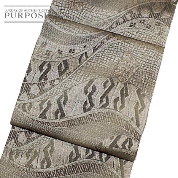 袋帯 幾何学 モダン 変り織 グレー 灰色 地味 上品 正絹 着物 きもの リサイクル|purpose-inc