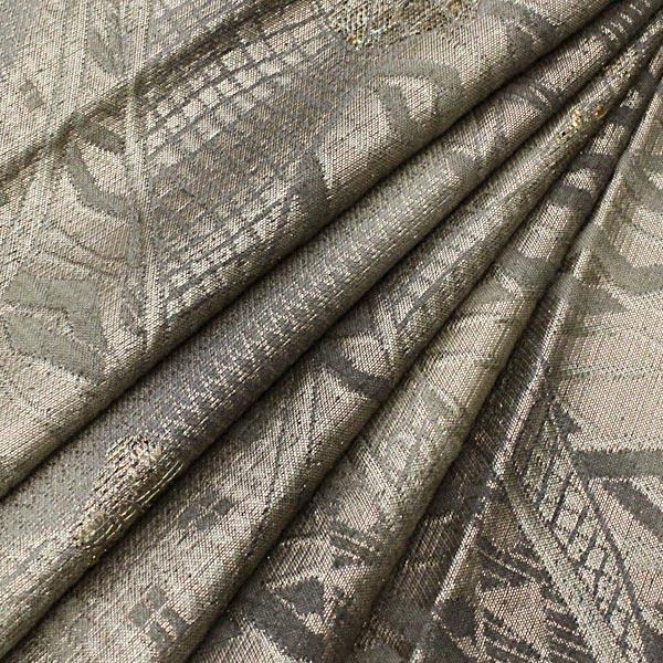 袋帯 幾何学 モダン 変り織 グレー 灰色 地味 上品 正絹 着物 きもの リサイクル|purpose-inc|03
