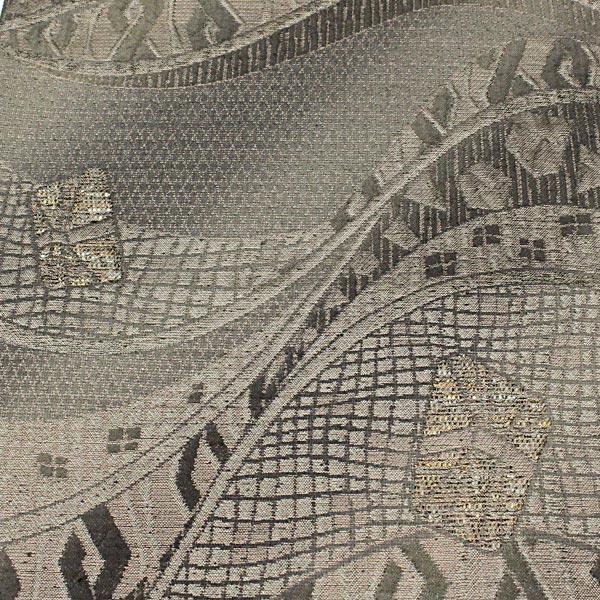 袋帯 幾何学 モダン 変り織 グレー 灰色 地味 上品 正絹 着物 きもの リサイクル|purpose-inc|05