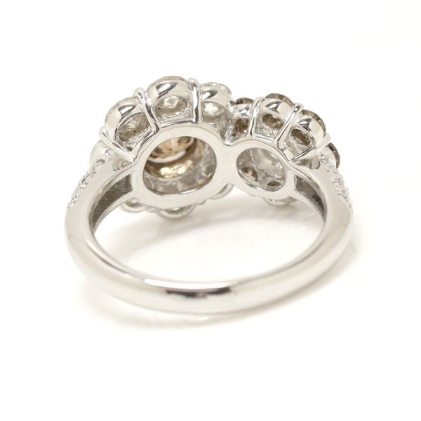 ダイヤ 1.67ct ブラウンダイヤ 1.23ct フラワー Pt プラチナ リング 12号 ダイア 指輪