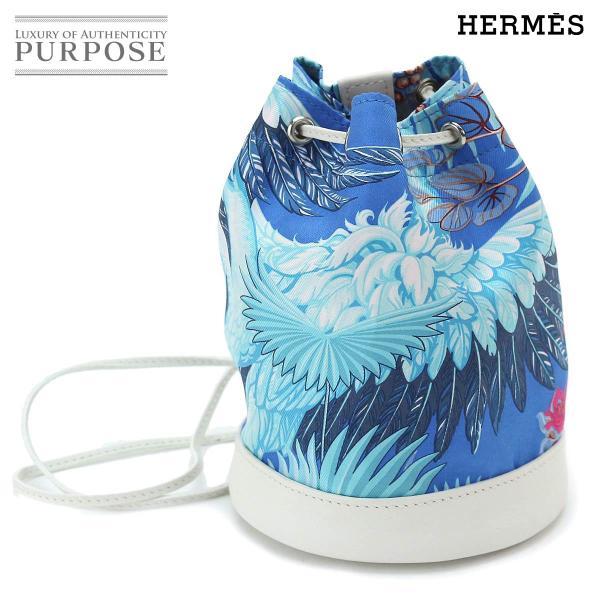 エルメス HERMES ソワ クール タイニー フランミンゴ パーティ 巾着 ショルダー バッグ スイフト シルク ブルーミコノス T刻印