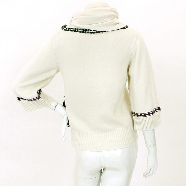 シャネル CHANEL セーター ニット スパンコール マフラー付き 柄 グリーン ホワイト サイズ 34 P44 ランダム レディース|purpose-inc|02