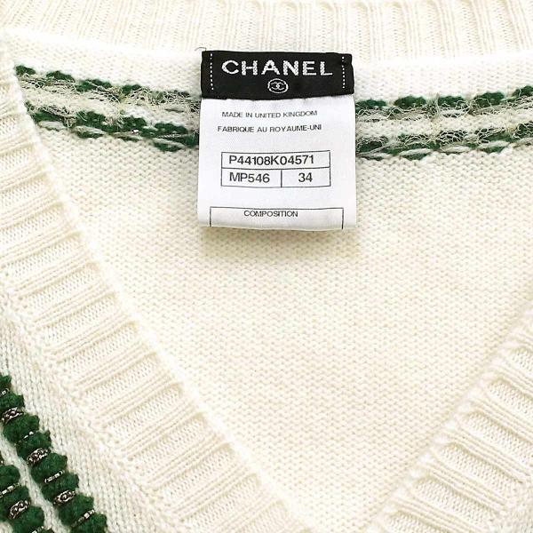 シャネル CHANEL セーター ニット スパンコール マフラー付き 柄 グリーン ホワイト サイズ 34 P44 ランダム レディース|purpose-inc|06