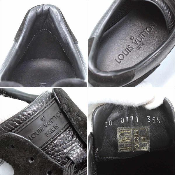 ルイ ヴィトン LOUIS VUITTON スニーカー レザー スエード エナメル ブラック 35 1/2 22.0 22.5cm レディース