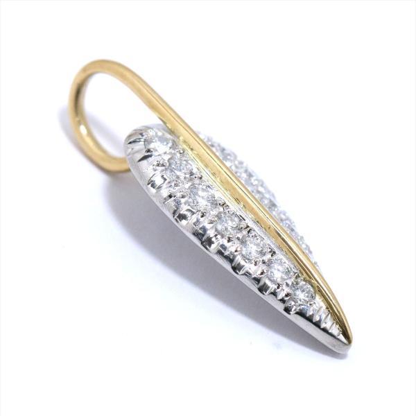 ダイヤ 0.54ct リーフ プラチナ Pt/K18 ペンダント トップ 18金 ダイア