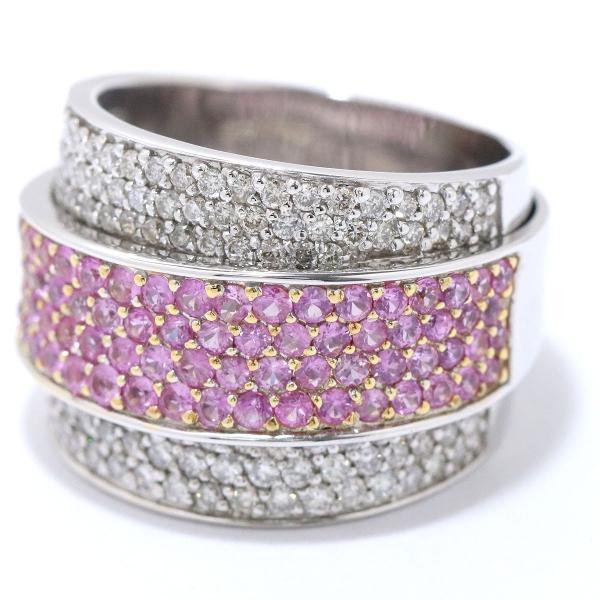 サファイヤ 1.50ct ダイヤ 0.95ct K18WG リング 15号 18金ホワイトゴールド サファイア ダイア 指輪