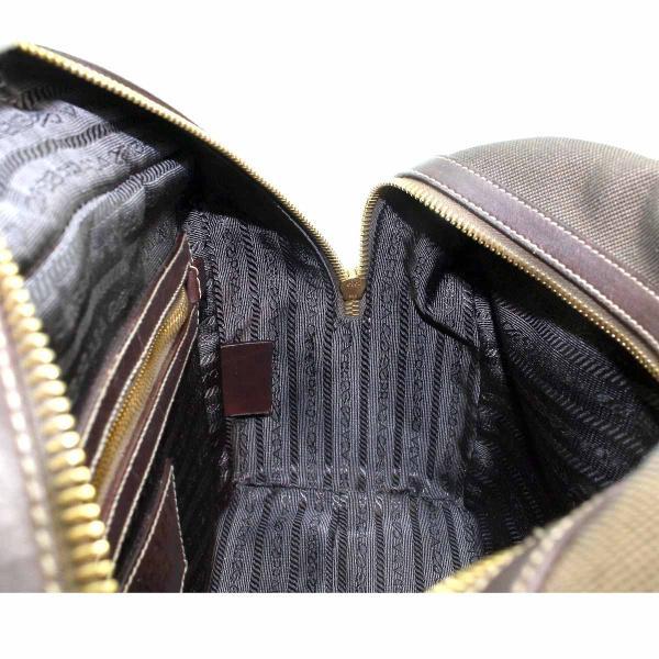 プラダ PRADA ロゴ ジャガード ミニ ボストン バッグ キャンバス レザー ブラウン BL0260