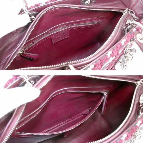 新同 クリスチャン ディオール Chiristian Dior レディディオール 編み込み 2WAY ハンド ショルダー バッグ レザー ボルドー