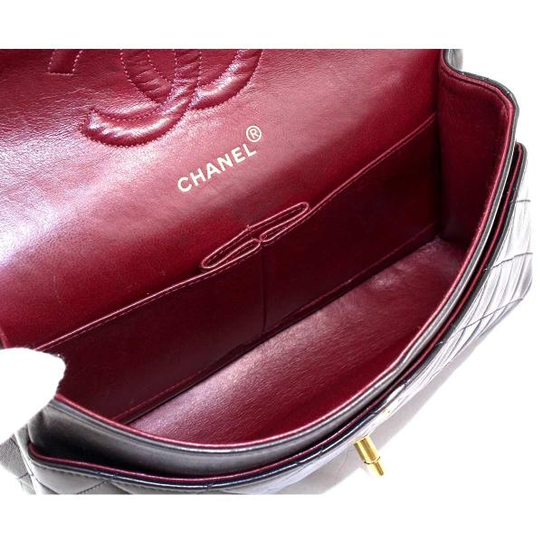 シャネル CHANEL マトラッセ 25 チェーン ショルダー バッグ レザー ブラック A01112