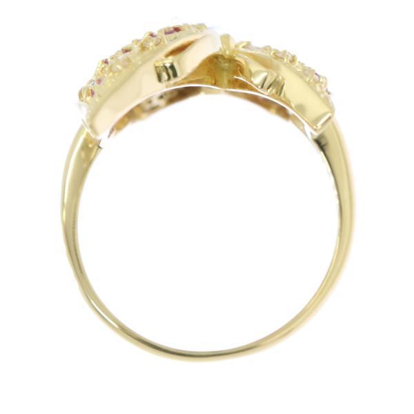 マルチストーン ダイヤ 蝶々モチーフ K18 リング 12号 18金イエローゴールド 指輪 ダイア