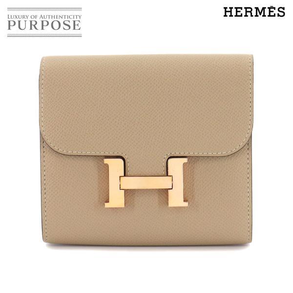 エルメスHERMESコンスタンスコンパクト二つ折り財布エプソントレンチX刻印ローズゴールド金具