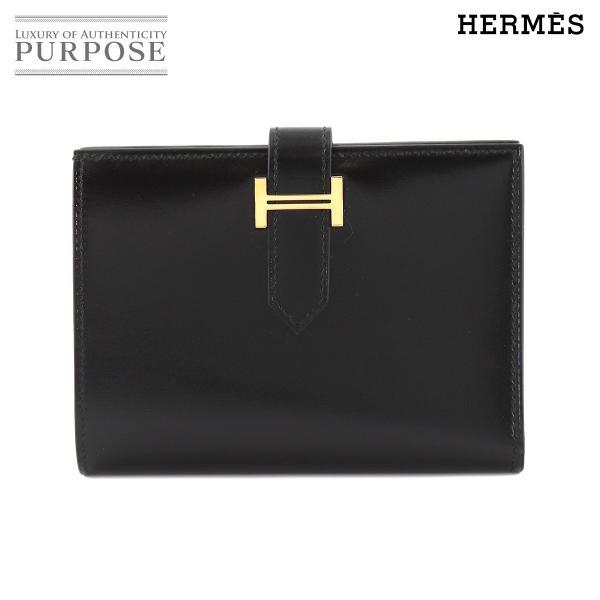 未使用展示品エルメスHERMESベアンコンパクト二つ折り財布ボックスカーフブラックC刻印ゴールド金具