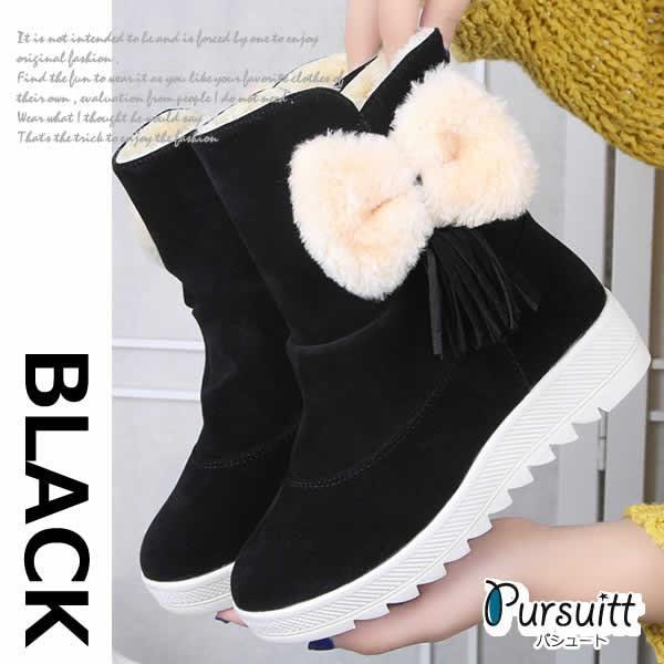 お取り寄せ ムートンブーツ ブーツ ムートン レディース ショート ピンク リボン インヒール 大きいサイズ もこもこ 厚底 黒 幅広 可愛い ボア 防寒 秋 冬 歩