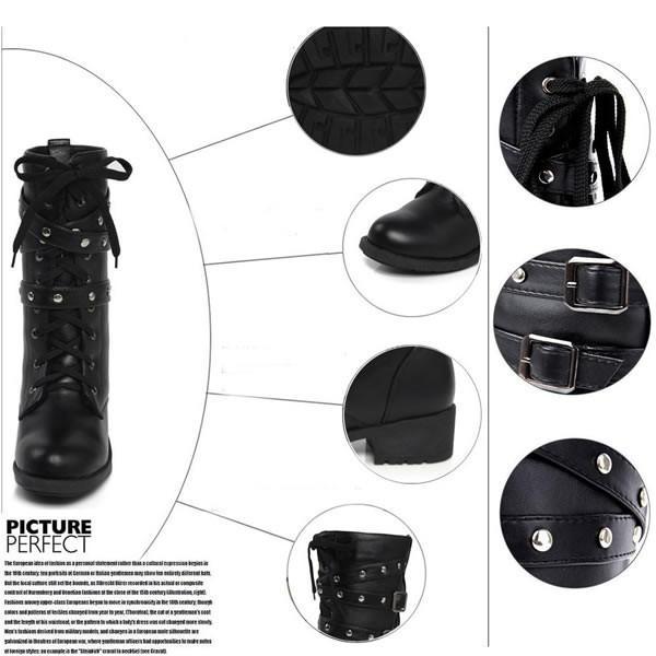 レースアップ ミドルブーツ ワークブーツ 編み上げ ショートブーツ 黒 靴 シューズ 太いヒール レディース 春 秋 冬 大きさサイズあり 26cm