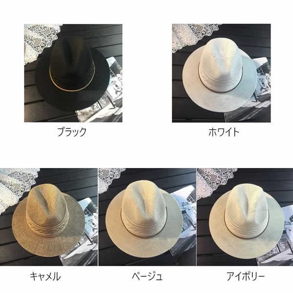 麦わら帽子 つば広 レディース おしゃれ 中折れ ストローハット 日よけ 紫外線 UV 夏 黒 白|pursuitt|02