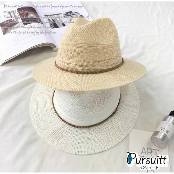 麦わら帽子 つば広 レディース おしゃれ 中折れ ストローハット 日よけ 紫外線 UV 夏 黒 白|pursuitt|04
