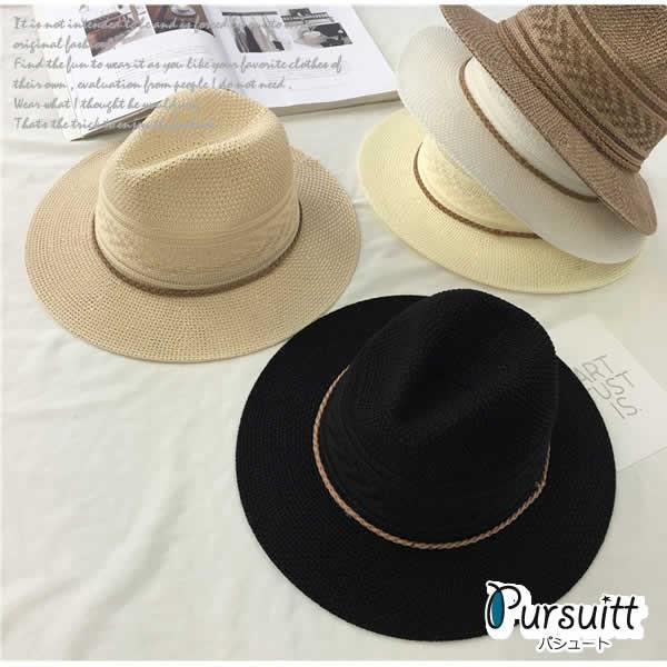 麦わら帽子 つば広 レディース おしゃれ 中折れ ストローハット 日よけ 紫外線 UV 夏 黒 白|pursuitt|05