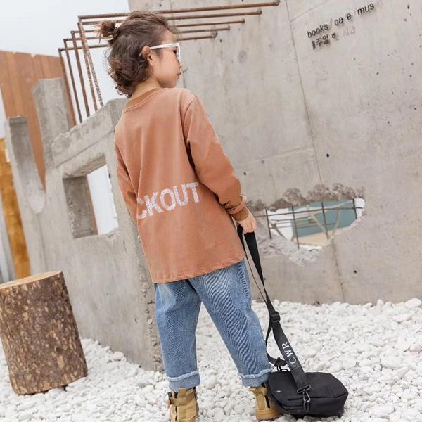 子供服 キッズ ロンT USコットン100% BIGサイズ リフレクタープリント 長袖Tシャツ オーバーサイズ ルーズ ゆったり 反射プリント カットソー 男の子 女の子|putimomo|04