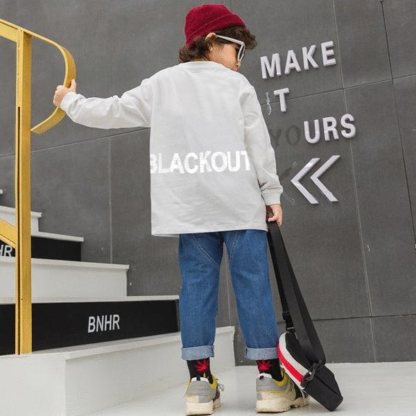 子供服 キッズ ロンT USコットン100% BIGサイズ リフレクタープリント 長袖Tシャツ オーバーサイズ ルーズ ゆったり 反射プリント カットソー 男の子 女の子|putimomo|07