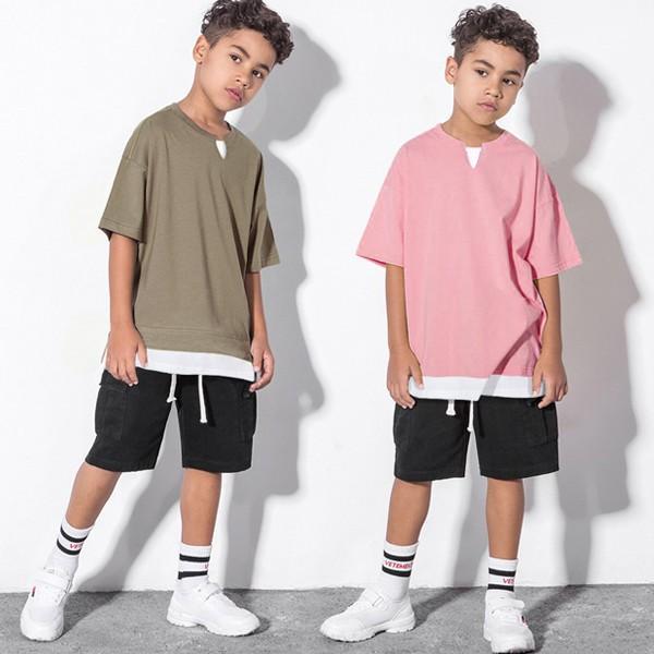 子供服 キッズ Tシャツ BIGサイズ レイヤードTシャツ スリット 重ね着風 オーバーサイズ ルーズ ゆったり 半袖 ビッグサイズ 無地 シンプル 男の子 女の子|putimomo|05