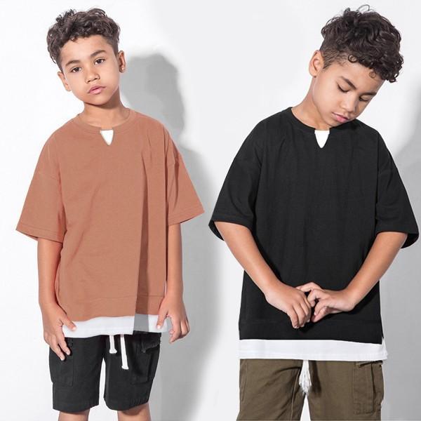 子供服 キッズ Tシャツ BIGサイズ レイヤードTシャツ スリット 重ね着風 オーバーサイズ ルーズ ゆったり 半袖 ビッグサイズ 無地 シンプル 男の子 女の子|putimomo|07