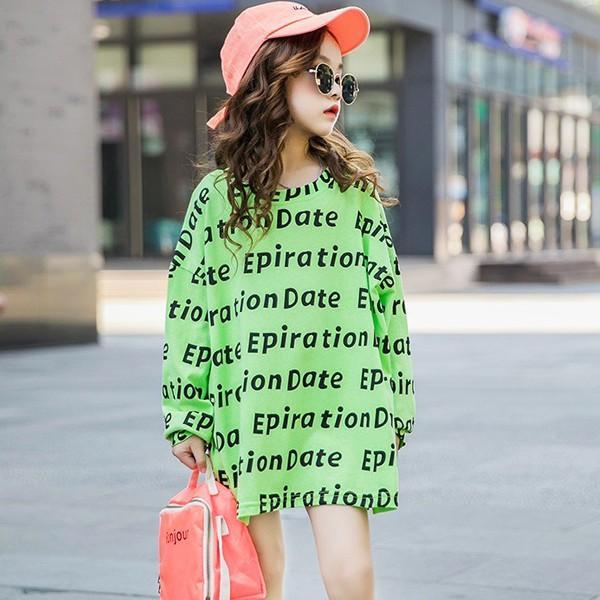 子供服 キッズ Tシャツ 英字ボーダー ビッグサイズ 長袖Tシャツ 女の子 ロンT オーバーサイズ ゆったり プリント ガールズ 女児 ジュニア|putimomo|11
