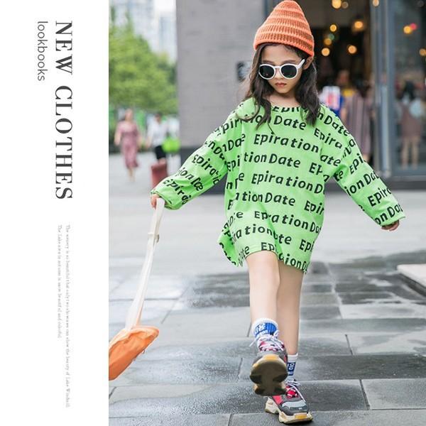 子供服 キッズ Tシャツ 英字ボーダー ビッグサイズ 長袖Tシャツ 女の子 ロンT オーバーサイズ ゆったり プリント ガールズ 女児 ジュニア|putimomo|14