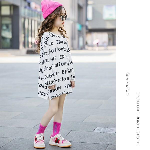 子供服 キッズ Tシャツ 英字ボーダー ビッグサイズ 長袖Tシャツ 女の子 ロンT オーバーサイズ ゆったり プリント ガールズ 女児 ジュニア|putimomo|04