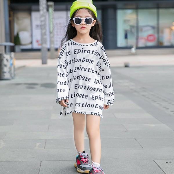 子供服 キッズ Tシャツ 英字ボーダー ビッグサイズ 長袖Tシャツ 女の子 ロンT オーバーサイズ ゆったり プリント ガールズ 女児 ジュニア|putimomo|05