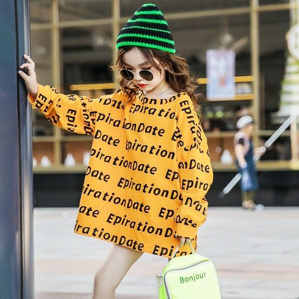 子供服 キッズ Tシャツ 英字ボーダー ビッグサイズ 長袖Tシャツ 女の子 ロンT オーバーサイズ ゆったり プリント ガールズ 女児 ジュニア|putimomo|07