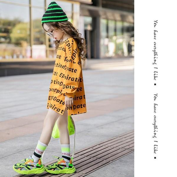 子供服 キッズ Tシャツ 英字ボーダー ビッグサイズ 長袖Tシャツ 女の子 ロンT オーバーサイズ ゆったり プリント ガールズ 女児 ジュニア|putimomo|08