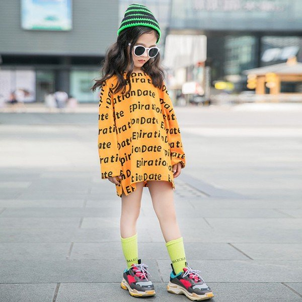 子供服 キッズ Tシャツ 英字ボーダー ビッグサイズ 長袖Tシャツ 女の子 ロンT オーバーサイズ ゆったり プリント ガールズ 女児 ジュニア|putimomo|10