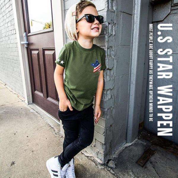 子供服 キッズ Tシャツ 星条旗 スター サガラワッペン 半袖Tシャツ 綿100% 星柄 はん袖 男の子 女の子 ジュニア 韓国こども服 韓国ファッション|putimomo|03