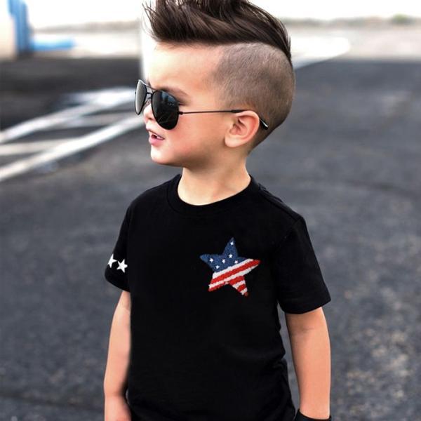 子供服 キッズ Tシャツ 星条旗 スター サガラワッペン 半袖Tシャツ 綿100% 星柄 はん袖 男の子 女の子 ジュニア 韓国こども服 韓国ファッション|putimomo|05
