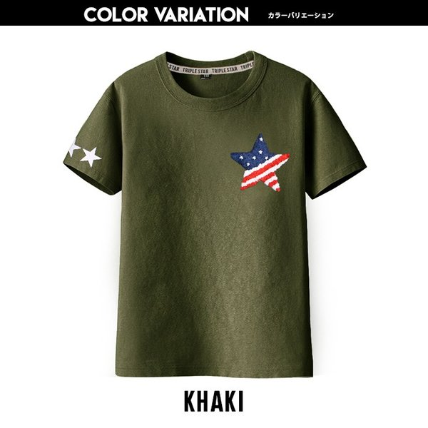 子供服 キッズ Tシャツ 星条旗 スター サガラワッペン 半袖Tシャツ 綿100% 星柄 はん袖 男の子 女の子 ジュニア 韓国こども服 韓国ファッション|putimomo|07