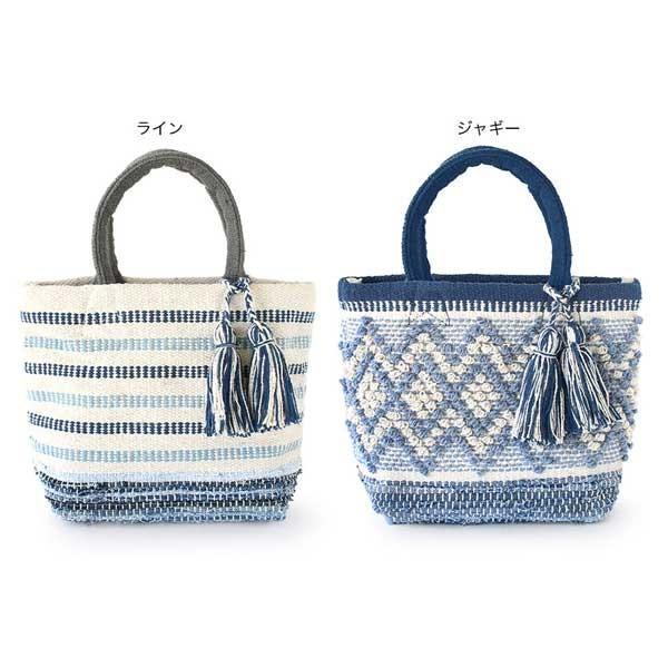 トートバッグ 手織りコットンバッグ デニム裂き織りミックス|pwanpwan|02