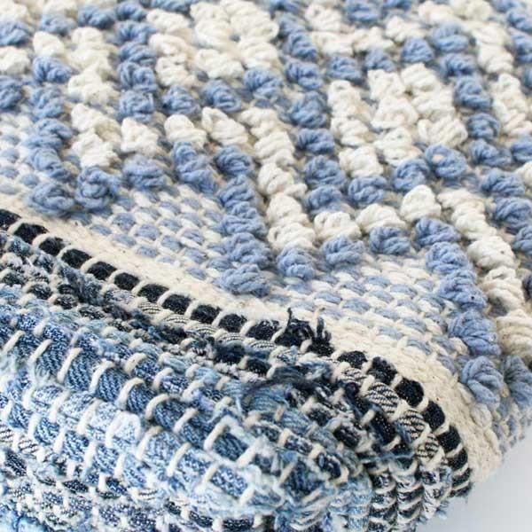 トートバッグ 手織りコットンバッグ デニム裂き織りミックス|pwanpwan|03