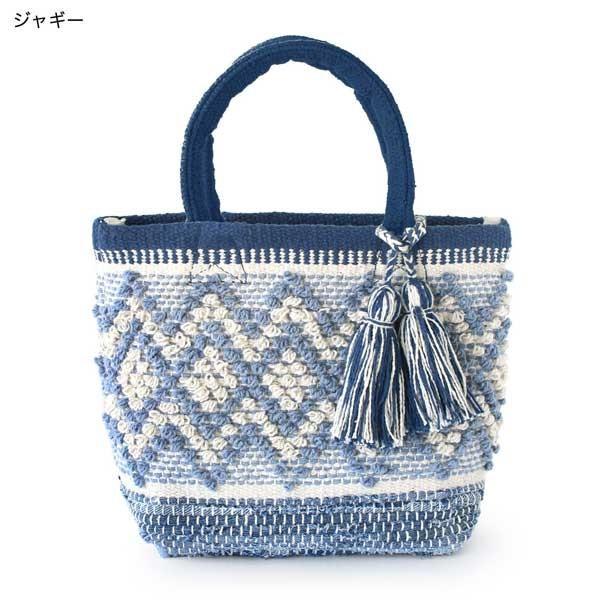 トートバッグ 手織りコットンバッグ デニム裂き織りミックス|pwanpwan|08
