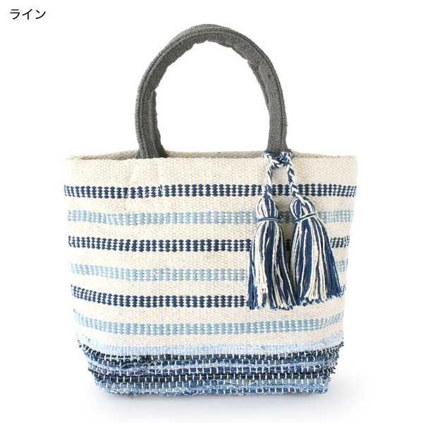 トートバッグ 手織りコットンバッグ デニム裂き織りミックス|pwanpwan|07