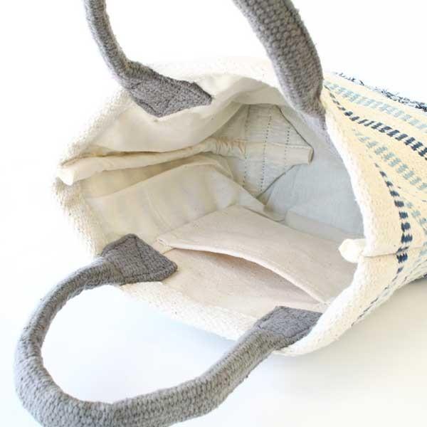 トートバッグ 手織りコットンバッグ デニム裂き織りミックス|pwanpwan|04