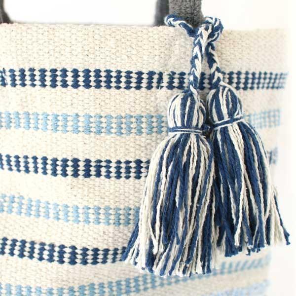 トートバッグ 手織りコットンバッグ デニム裂き織りミックス|pwanpwan|05