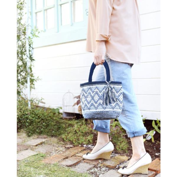 トートバッグ 手織りコットンバッグ デニム裂き織りミックス|pwanpwan|06