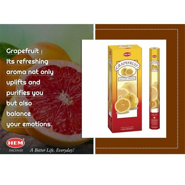 HEM6角香 グレープフルーツ 約20本  線香/お香/インド香|pwanpwan|03