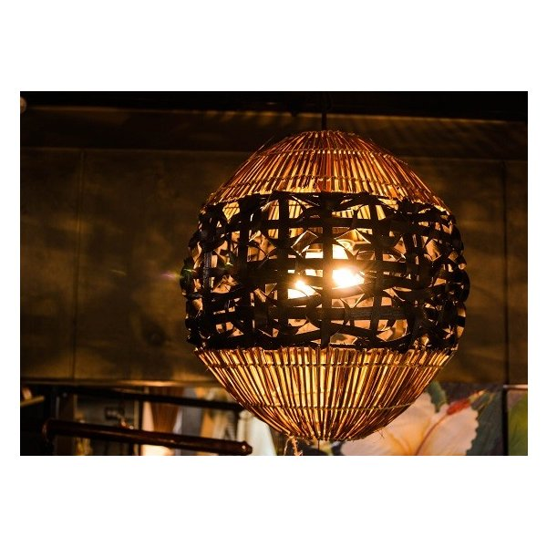 バンブーラタンランプ(ブラック) 照明 インテリア アジアン バリ 雑貨 |pworld