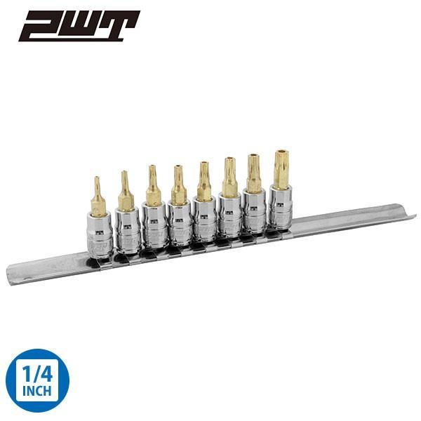 PWT 1/4インチ(6.35mm) いじり止め対応 トルクスビットソケットセット T8/T10/T15/T20/T25/T27/T30/T40 IBS14TTSET pwt