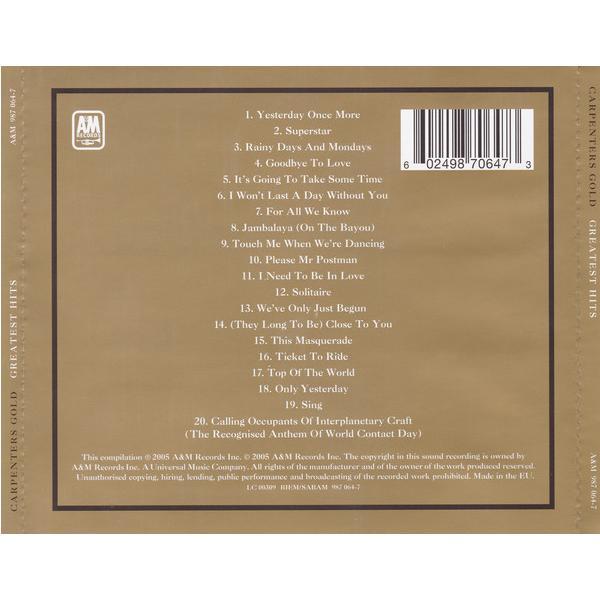 セール SALE | カーペンターズ ゴールド CD アルバム | CARPENTERS GOLD GREATEST HITS | カーペンターズ ゴールド 輸入盤 CD 送料無料|qoo-online4-store|02