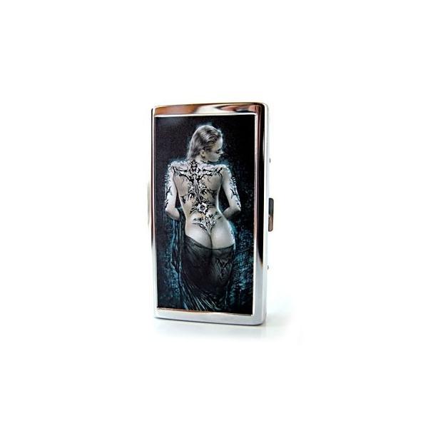 ワイルドなアルミ製シガレットケース タトゥー レディー メタリック タバコ 煙草 シルバー メンズ