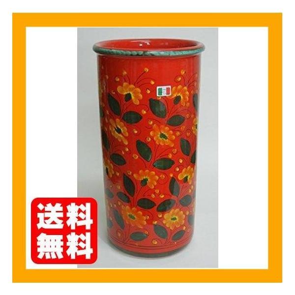 【イタリア製・マヨルカ焼】陶器傘立て・フラワー柄レッド H45XФ23cm 22-961249