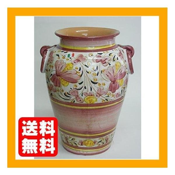 【イタリア製・マヨルカ焼】陶器傘立て・フラワー柄ピンク H45X33X32cm 22-932332